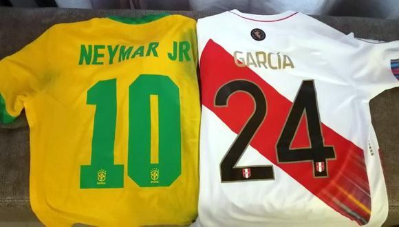 Raziel García cambió camisetas con Neymar. (Foto: TV Perú Deportes)