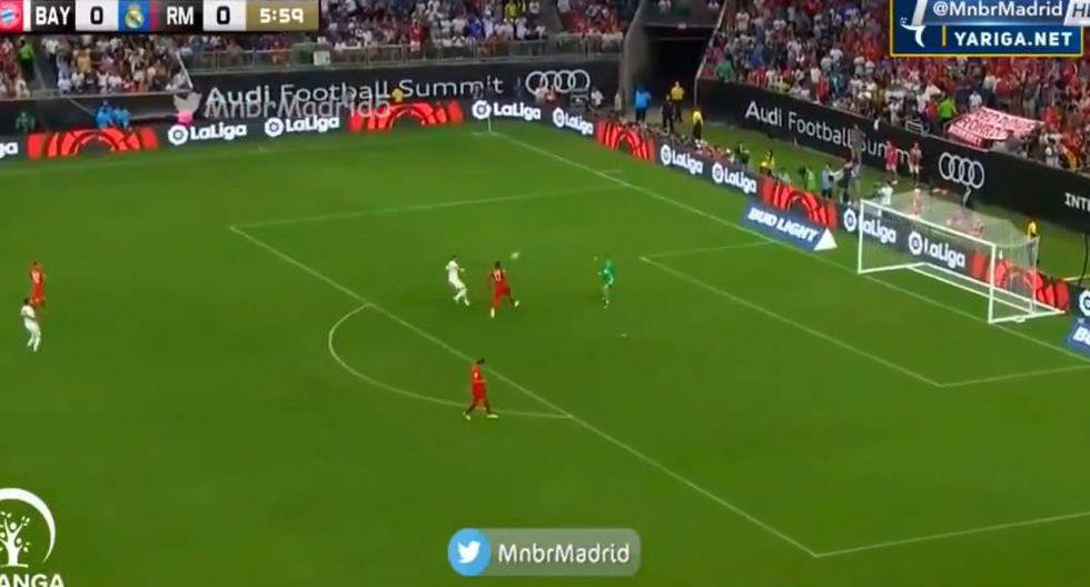 Benzema quiso sorprender a Neuer y se perdió el 1-0 del Real contra Bayern. (Twitter)