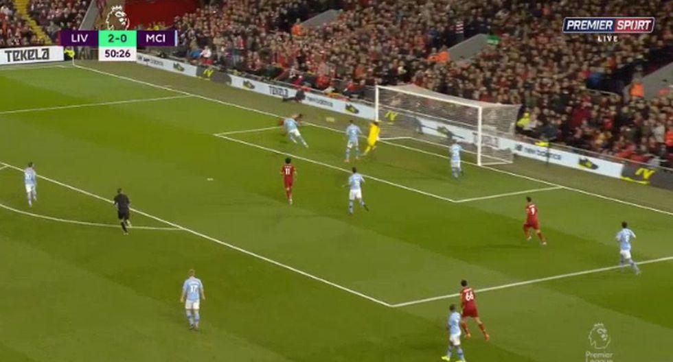 Gol de Sadio Mané para el 3-0 de Liverpool ante Manchester City. (Premier Sport)