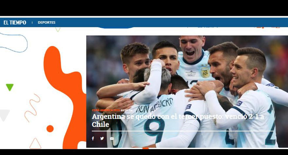 La reacción de la prensa mundial tras el choque entre Argentina y Chile por el tercer puesto de la Copa América 2019.