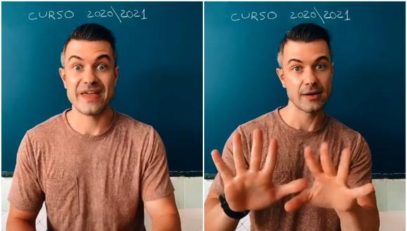 """Marcos Ortiz, un profesor de Murcia (España) instruye a sus alumnos al ritmo de """"Another one bites dust"""" de la banda británica Queen. (Foto: marcosorse86 / Tik Tok)"""