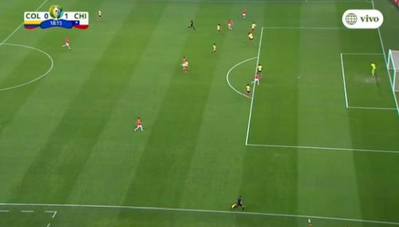 La imagen del gol anulado por VAR en Chile-Colombia. (Video: AméricaTV)