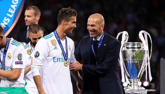 Cristiano Ronaldo y ZInedine Zidane estuvieron juntos en Real Madrid hasta 2018. (Getty)