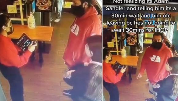 Una joven se dio cuenta muy tarde que atendió a Adam Sandler en un restaurante. (Foto: @dayanna.rodas / TikTok)