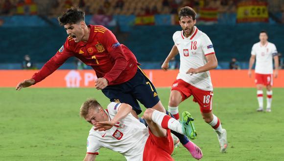 Álvaro Morata anotó su primer gol con España en esta edición de la Eurocopa 2020 (Foto: AFP)