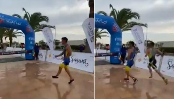 El momento en que un joven pierde un triatlón por celebrar la victoria antes de tiempo. (Foto: @elgolet / Twitter)