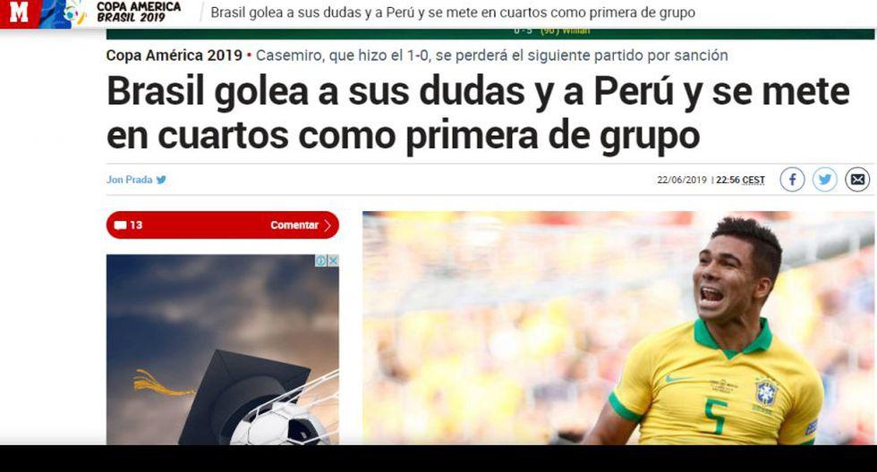 Así informó el mundo sobre la goleada (5-0) que recibió Perú a manos de Brasil en Copa América 2019.