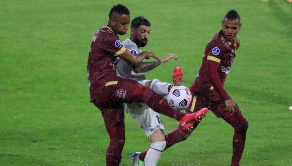 Tolima y Emelec empataron 1-1 en el Monumental de Lima por Copa Sudamericana 2021. (Foto: Twitter)
