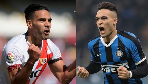 Lautaro Martínez reveló que admiraba a Radamel Falcao cuando jugaba en River Plate. (Foto: AFP)