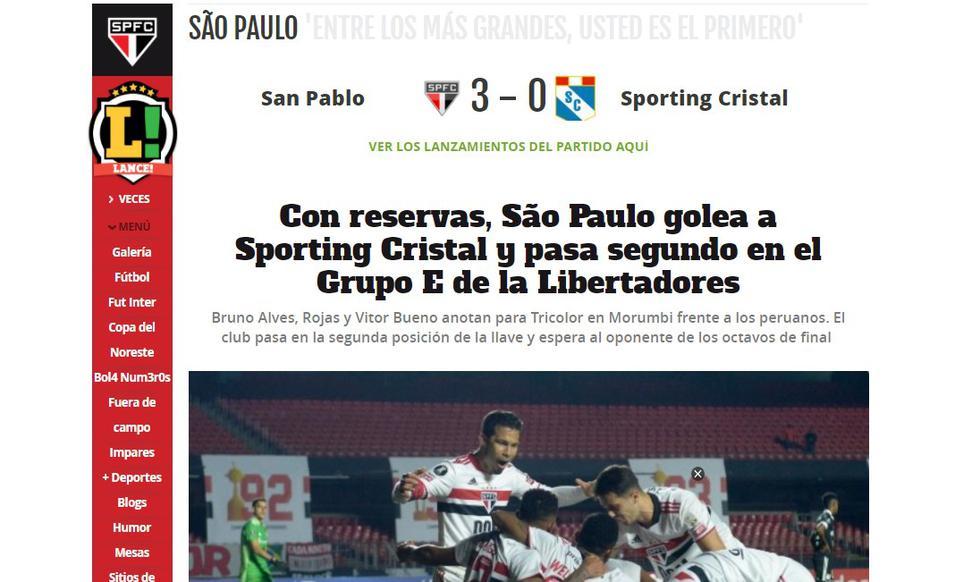 Así reaccionó la prensa brasileña tras el triunfo de Sao Paulo ante Sporting Cristal. (Captura)