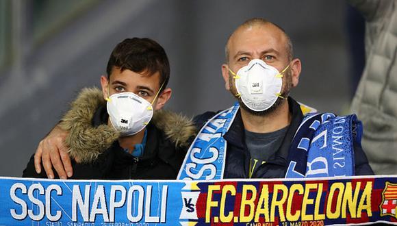 Barcelona y Napoli empataron a uno en la ida de los octavos de Champions League. (Getty)