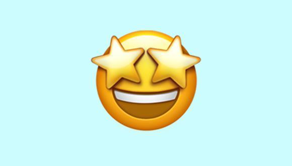 Conoce qué significa realmente el emoji de la carita con ojos de estrellas en WhatsApp. (Foto: Emojipedia)