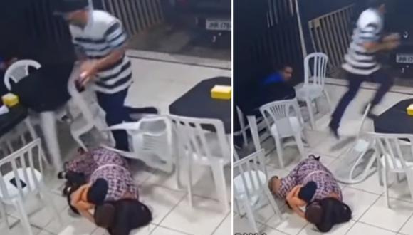 Una madre fue captada protegiendo a su hijo con su cuerpo en un tiroteo. (Foto: CANAL BRASIL TUTORIAL / YouTube)