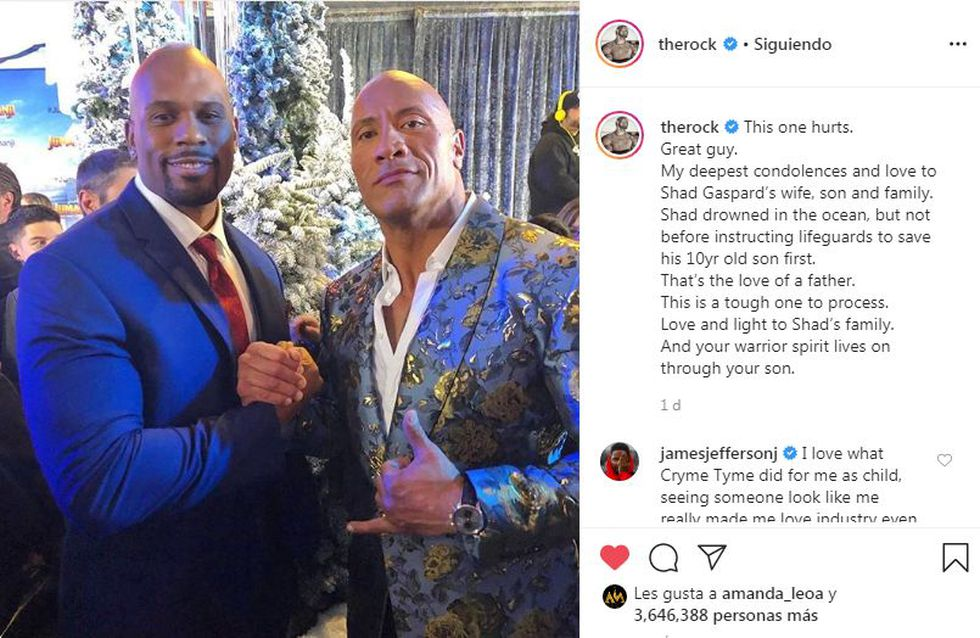 The emotional message dedicated to The Rock Shad Gaspard after his regrettable death. (Instagram)