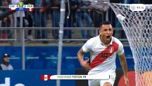 Yoshimar Yotún anotó el segundo gol en el Perú vs. Chile por semifinales de la Copa América. (Captura)
