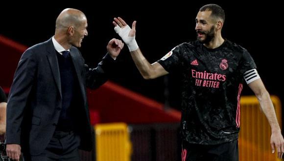Karim Benzema terminó como goleador del Real Madrid en la temporada 2020-21. (Foto: AP)