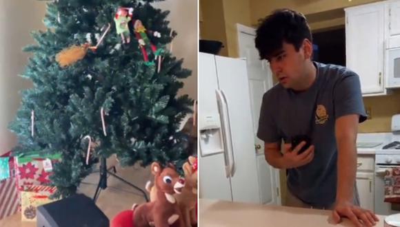 Una joven le hizo creer a su novio que era Navidad y la reacción que tuvo el hombre se volvió viral en Internet. (Foto: @kenzielynnsmith / TikTok)