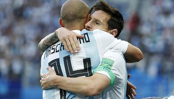 Lionel Messi y Javier Mascherano jugaron en la Albiceleste hasta el Mundial de Rusia 2018. (Getty)