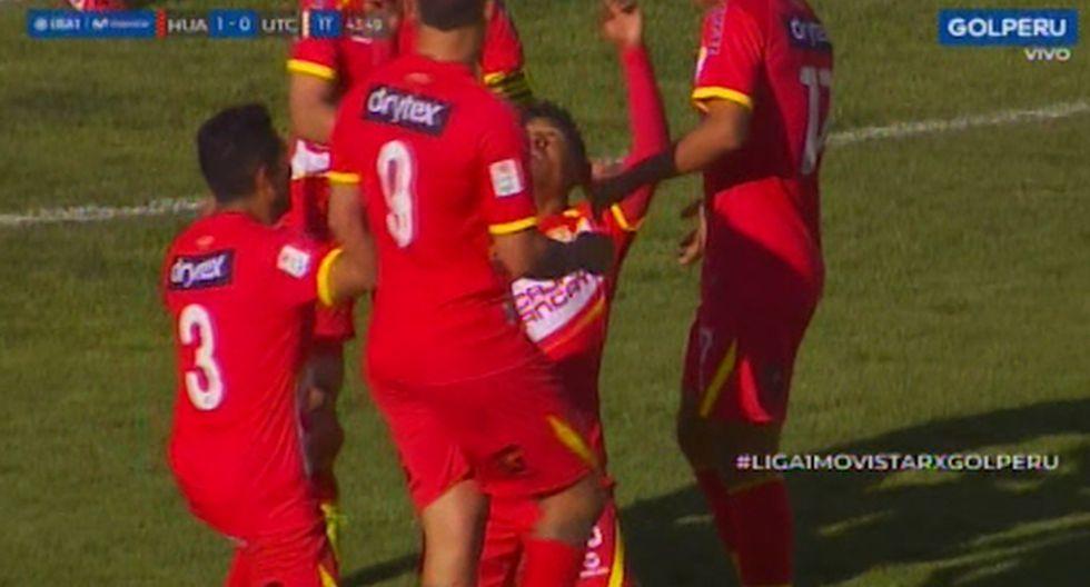 El golazo de bolea de 'Coco' Bazán para el 1-0 a favor de Sport Huancayo ante UTC. (Captura)