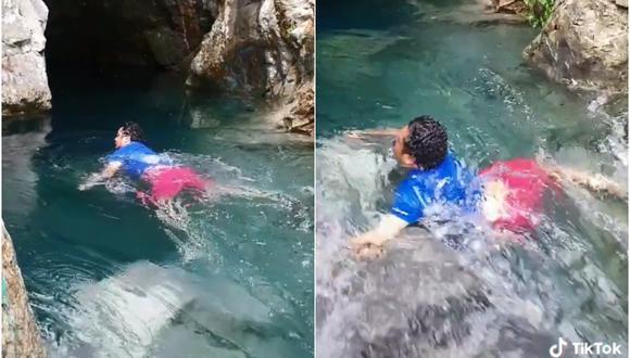 Un hombre fue arrastrado por la corriente de una cascada y la escena fue registrada en video por una testigo que gritó del susto. (Foto: lafam.turrubiate2 / Tik Tok)