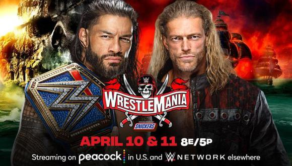 Combate entre Roman Reigns y Edge por el título Universal será el evento estelar de WrestleMania 37. (WWE)
