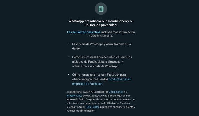 Estas son las nuevas políticas de WhatsApp que han llegado a todo el mundo. (Foto: WhatsApp)