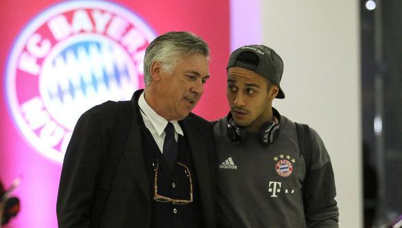 Ancelotti y Thiago lograron tres títulos juntos en el Bayern, incluida la Bundesliga.