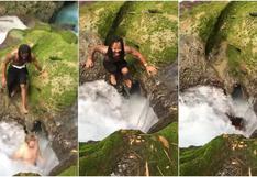 Es viral como dos turistas 'desaparecen' luego de lanzarse de cascada en la selva: las redes arden [VIDEO]
