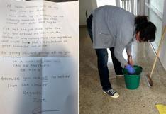 """La carta con la que una trabajadora de limpieza se despide tras la conducta """"agresiva y cruel"""" de su jefa"""