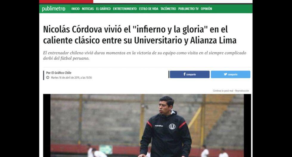 La reacción de la prensa chilena tras la agresión que sufrió Nicolás Córdova en Matute, en el choque ante Alianza Lima. (Captura)