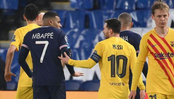 Mbappé y Messi en el duelo en París por octavos de final de la Champions League. (Foto: AFP)