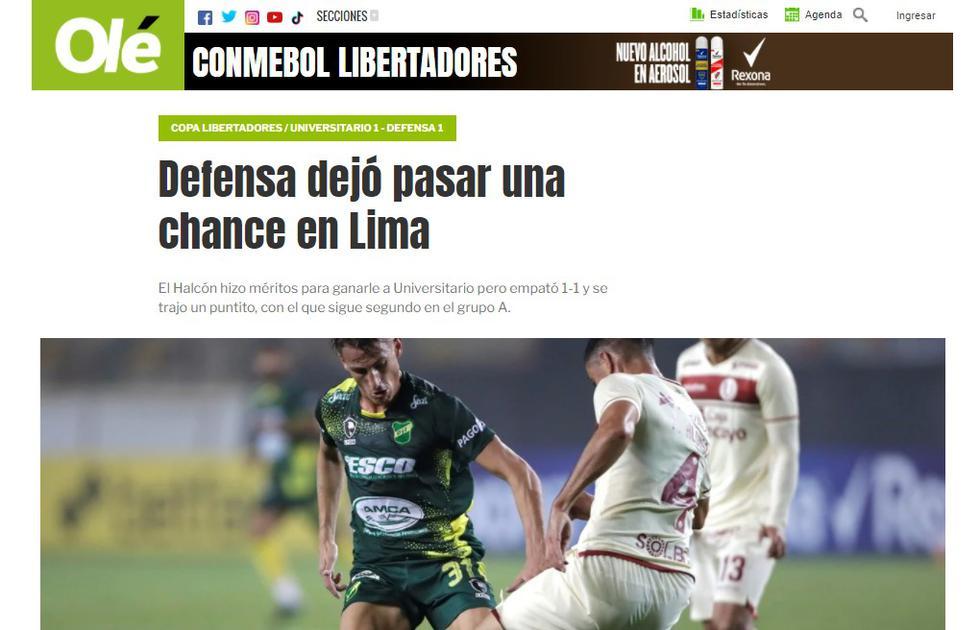 Reacción de la prensa argentina tras el empate de Universitario vs. Defensa y Justicia. (Foto: captura)