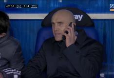 La imagen del partido: David Bettoni llamó a Zidane en pleno partido para realizar los cambios