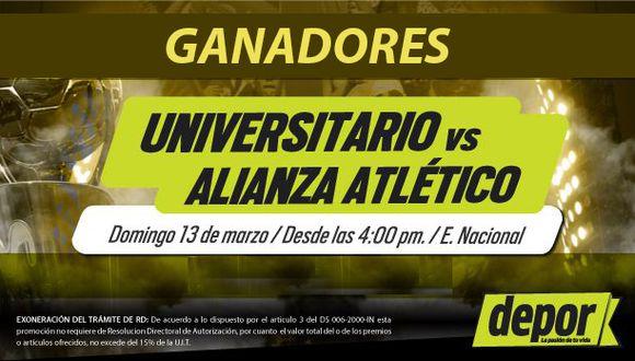 Universitario vs. Alianza Atlético: lista de ganadores de entradas dobles