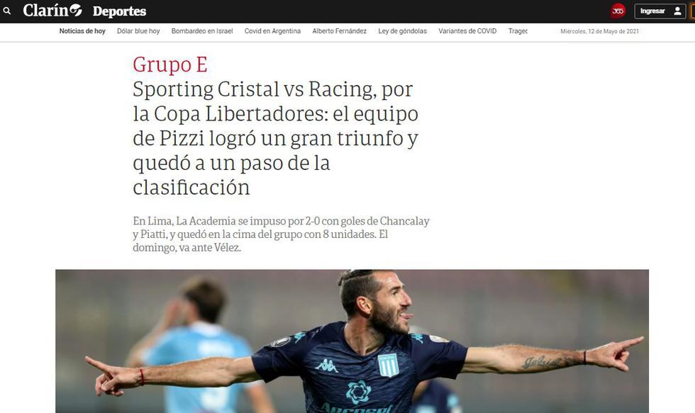 La reacción de la prensa argentina tras la victoria de Racing sobre Sporting Cristal. (Foto: captura)