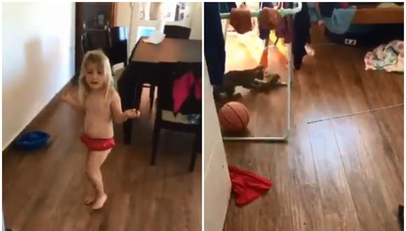 El video viral muestra el momento en que una niña le avisa a su madre lo que está haciendo la mascota en otra habitación. Fueron juntas a ver al animal y la mujer terminó gritando del pánico. (Foto: @charlysimoni / Twitter)