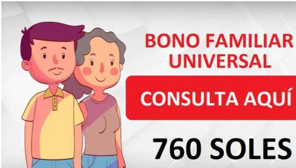 Bono Familiar Universal de S/ 760: cronograma completo y beneficiarios. (Difusión)