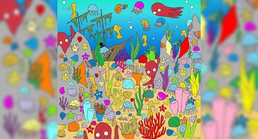 Desafío viral aquí y ahora de encontrar en 5 segundos al pez oculto entre las otras criaturas marinas. (Foto: Facebook)