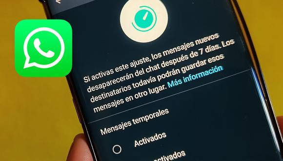 ¡Mira si ya tienes los mensajes temporales en WhatsApp! Aprende cómo. (Foto: Depor)