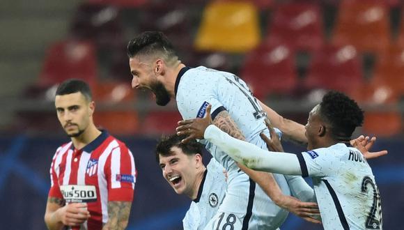 El francés Olivier Giroud celebra el tanto que le dio la victoria al Chelsea sobre Atlético de Madrid por el partido válido por la ida de octavos de final de la Champions League. | Crédito: Daniel MIHAILESCU / AFP