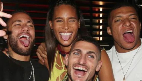 Neymar, Mbappé y Verratti celebraron cumpleaños de modelo dos días antes de partido ante Rennes. (Foto: Cindy Bruna / Instagram)