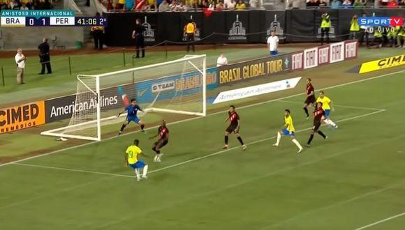 Vinicius Junior entró en el segundo tiempo del Perú-Brasil. (SporTV)