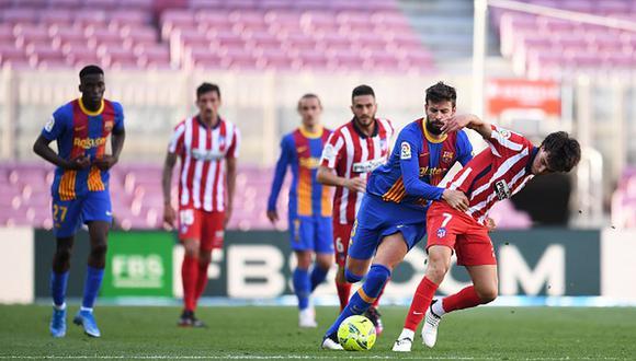 Barcelona quedó segundo en la tabla de LaLiga tras empate ante el Atlético. (Getty)
