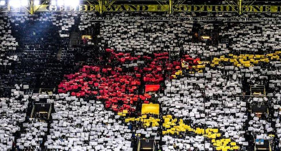 El mosaico que mostraron los hinchas alemanes en el Signal Iduna Park. (Agencias)