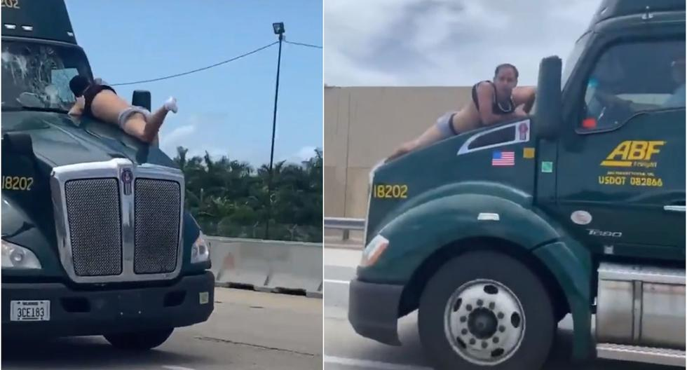 Es viral: hombre se colgó del parabrisas de un camión e imágenes son tendencia. (Foto: Captura)