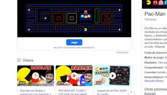 Juegos gratis: juega Pac-Man, Snake y Tres en raya de forma online con Google Chrome. (Foto: captura)