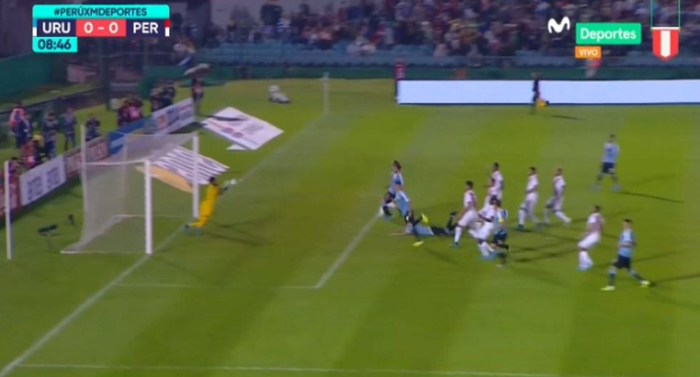 Pedro Gallese apareció con espectacular atajada que salvó a la Blanquirroja del gol uruguayo. (Captura)