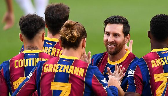 Barcelona goleó 5-1 a Ferencváros en la primera fecha de la Champions League. Leo Messi de penalti, Ansu Fati, Coutinho, Pedri y Dembélé anotaron para los azulgranas. (Foto: AFP)