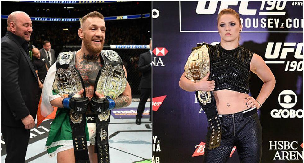 Conor McGregor fue campeón pluma y ligero de la UFC. Mientras que Ronda Rousey dominó por varios años la división gallo. (Getty Images)