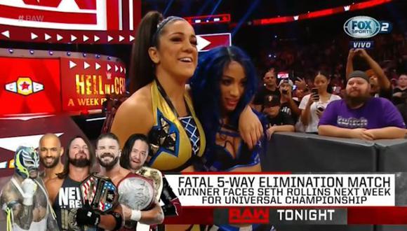 Sasha Banks con su amiga Bayley luego de ganar en Raw. (Foto: WWE)